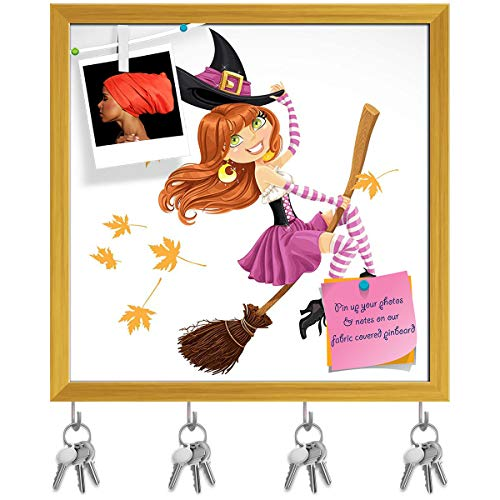 (Artzfolio Witch Flying On A Broomstick Key Holder Hooks | Notice Pin Board | Golden Frame 16.1 X 16Inch)