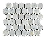 Bianco Venatino Carrara White Carrera Marble Honed 2 inch (2 X 2) Hexagon Mosaic Tile - Lot of 50 Sheets