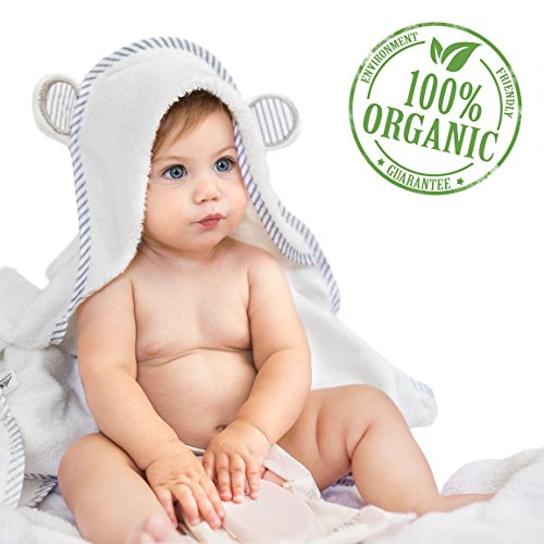 Organic Bamboo Hooded Baby Towel  Soft, Hooded Bath Towels with Ears for Babies, Toddlers  Hypoallergenic, Large Baby Towel Perfect Baby Shower Gift for Boys and Girls by San Francisco Baby