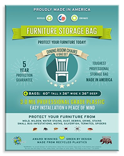 Four Count Furniture Storage Bags-Dining Room Chair. 3 Mil Thick, Heavy Duty, Professional Grade. Proudly Made in America. Award Winning. by Zero Waste Moving