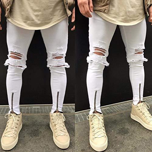 Jeans Fori Con Bianca Moda Vintage Strappati Pantaloni Uomo Fit Elastico Distrutti Hiphop Stretto Chern Sportivi Giovane Slim Streetwear Skinny IpUCprqBw