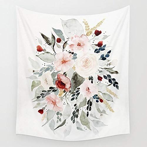Bouquet Wall Tapestry - Ameiu-Design Loose Watercolor Bouquet Wall Tapestry Hanging Tapestries Wall Art for Living Room Bedroom Dorm Decor 80X60 inches
