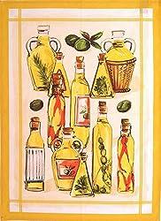 Mierco Fine European Linens 9POlive Oil Bottles 100-Percent Cotton Tea Towel Design Table Topper, 20 by 28-Inch, Yellow/White