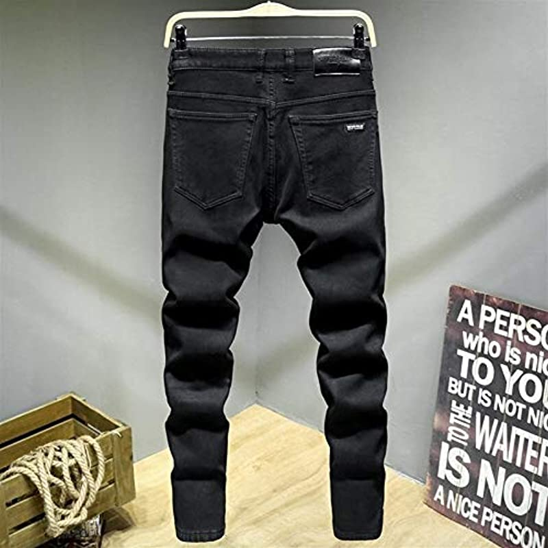 SUIWO Męskie Slim Denim-Jeans, Dickes Samt, Fleece, warm, elastisch, schmal gerade, schwarz, klassisch, Business-Look, Denim-Hose, Übergröße (Farbe: Schwarz, Größe: 38): Küche & Haushalt