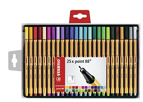 Stabilo Point 88 Wallet Fineliner Pens, Set of 25, Multicolored by Stabilo