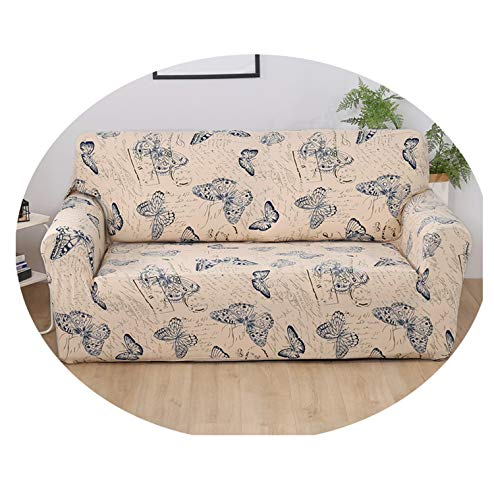 Flower Printing Sofa Tight Wrap All-Inclusive Elegant Sofa Cover Elastic Sofa Towel Furniture Slipcover for Sectional Sofa 1Pc Navy Butterfly 2seater 145-185cm