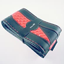 """Black And Red PVC Leather Steering Wheel Cover Wrap 47010 14"""" Diameter 4"""" Grip Circumference Small Circle Cool"""
