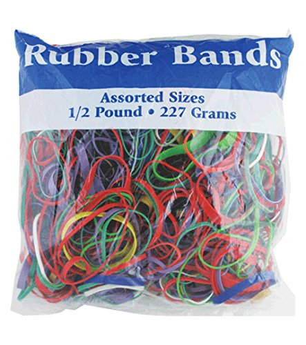 BAZIC 465 Multicolor Rubber Bands for School, Home, or Office (Assorted Dimensions 227g/0.5 lbs) ()
