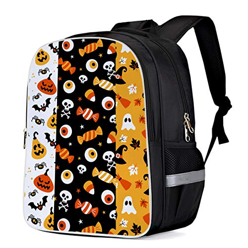 Unisex Durable School Backpack- Halloween Candy Eyeball and Pumpkin, Lightweight Oxford Fabric School Bags with Reflective Strip Daypack Laptop Bags -