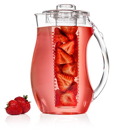 Fruit-Infuser-Pitcher-INCLUDES-Free-Ice-Core-Infuse-Any-Fruit-or-Tea-For-Great-Flavor-BPABPS-and-BPF-Free-Durable-Shatter-Proof-Acrylic-Carafe-3-Qt-93-oz-By-Healthy-Home-Innovations