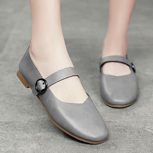 Mouth Chaussures Rouge HWF femme Shallow Chaussures Simple Retro Printemps Chaussures Couleur Femme Gris Chaussures 37 Grandma Chaussures Femmes taille n1vqZ81Hxw
