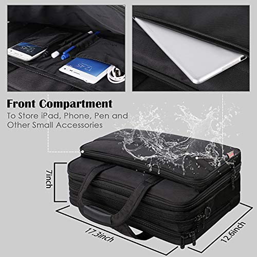 17 inch Laptop Bag, Large Business Briefcase for Men Women, Travel Laptop Case Shoulder Bag, Waterproof Carrying Case Fits 15.6 17 inch Laptop, Expandable Computer Bag for Notebook, Ultrabook by Mancro (Image #1)