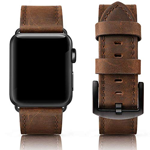 SWEES Leather Bands Compatible for iWatch 42mm 44mm, Genuine Leather Vintage Replacement Strap Compatible iWatch Apple Watch Series 4 Series 3 Series 2 Series 1, Sports & Edition Men, Retro Walnut