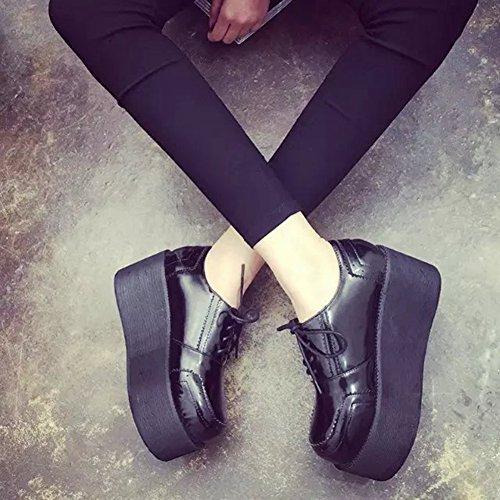 Btrada Donna Intagliata Traforata Scarpe Oxford Brogue Scarpe Alte Stringate Con Fondo Alto Nero