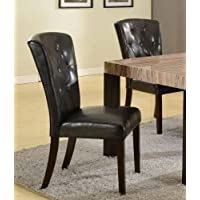 Roundhill Furniture Big and Thick Black Button Back Dining Parsons Chairs, Set of 2