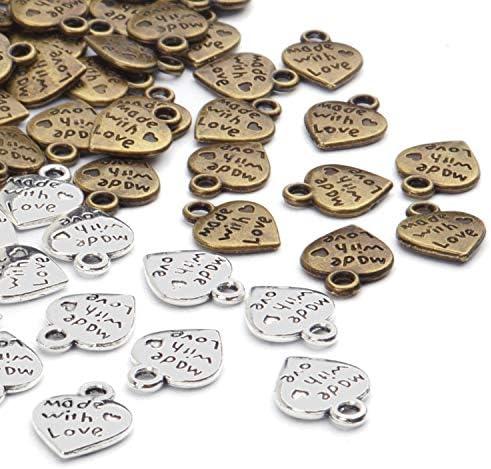 """Mensaje de estilo vintage bronce 25 Encantos Colgante Steampunk /""""Made with Love/"""""""