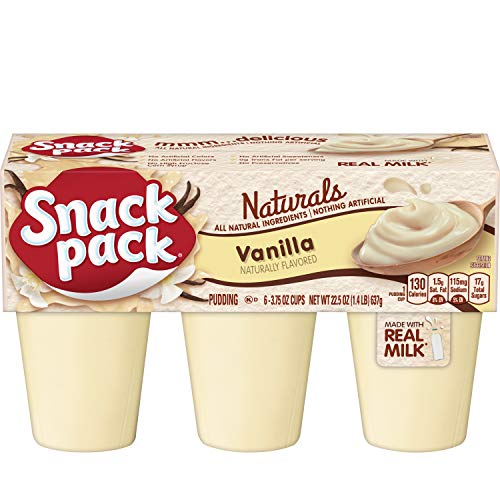 Snack Pack Vanilla Naturals Pudding Cups, 6 Count, 8 Pack