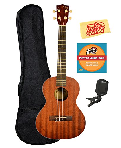 Kala MK-T Makala Tenor Ukulele Bundle with Gig Bag, Clip-On Tuner, Austin Bazaar Instructional DVD, and Polishing Cloth