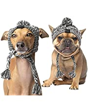 """SEIS Winter Dog Knitted Hat with Puffball Warm Pet Cap Fashion Gray Cat Headband Protector for Small Medium Large Dogs (L (Head 53-61cm/ 20.9""""-24""""))"""