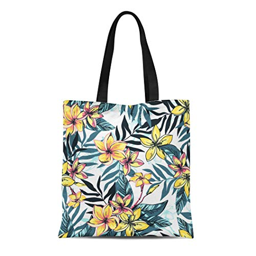 Semtomn Canvas Tote Bag Shoulder Bags White Vintage Tropical Floral Summer Plumeria Flowers Leaves Yellow Women's Handle Shoulder Tote Shopper Handbag