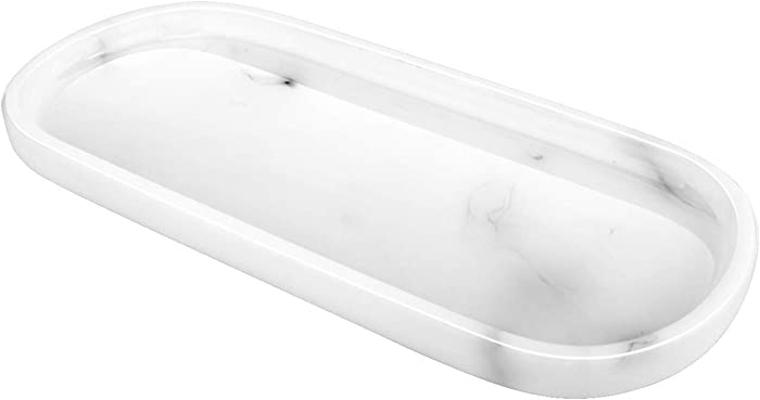 Emibele Jewelry Organizer Oval Resin Tray, Bathroom Kitchen Dresser Vanity Tray Jewelry Dish Ring Holder Cosmetic Organizer for Candle Perfume Soap Shampoo Small Plant Home Decor - Marble White