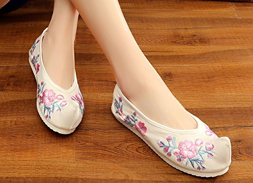 Blossom Spring Plum White Dance Toe Womens AvaCostume Embroidery Shoes EwaWRH7XqZ