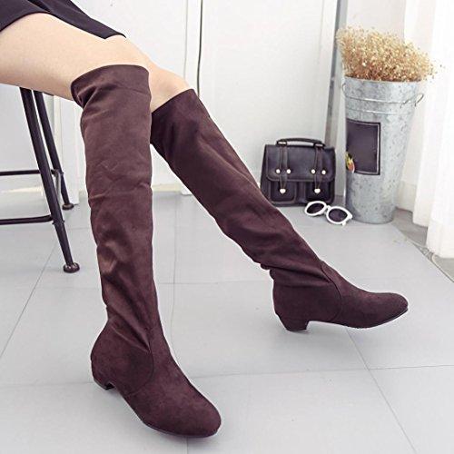 hunpta Women Winter Autumn Flat Boots Shoes High Leg Suede Short Long Boots Brown ATkLb