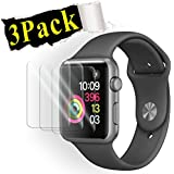 [3-Pack] Apple Watch 42mm Tempered Glass Screen Protector - [Only Covers The Flat Area] Anti-Scratch, 9H Hardness, Bubble Free Screen Protector for Apple Watch 42mm