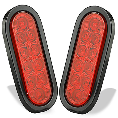 - Wellmax 6 inch Oval Trailer Tail Lights, 2PC Red Oval Taillights Kit with 10 Diodes of Bright LED Power, Waterproof Submersible