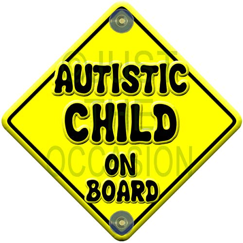 Yellow Range Autistic Child Baby on Board Novelty Car Window Sign