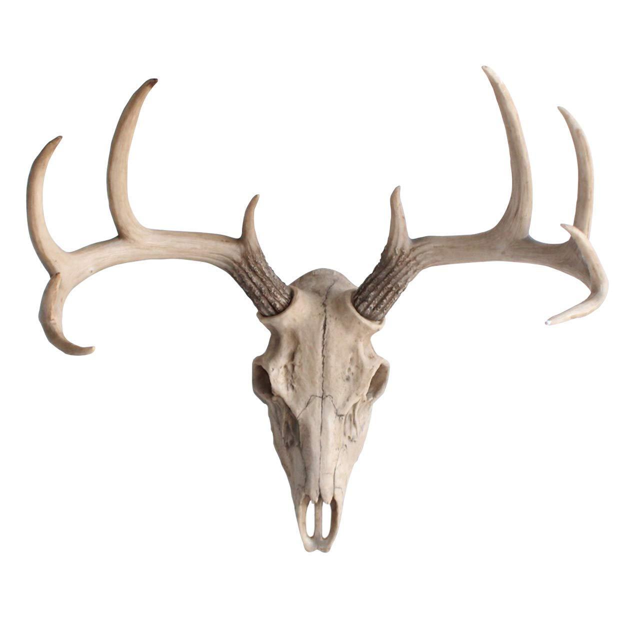 Wall Charmers Large Natural Faux Deer Skull - 21'' Faux Taxidermy Animal Head Wall Decor - Handmade Farmhouse Decor