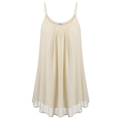 Zeagoo Women s Summer Chiffon Layered Tank Tops Loose Cami Shirts Apricot S 14b9e7f06