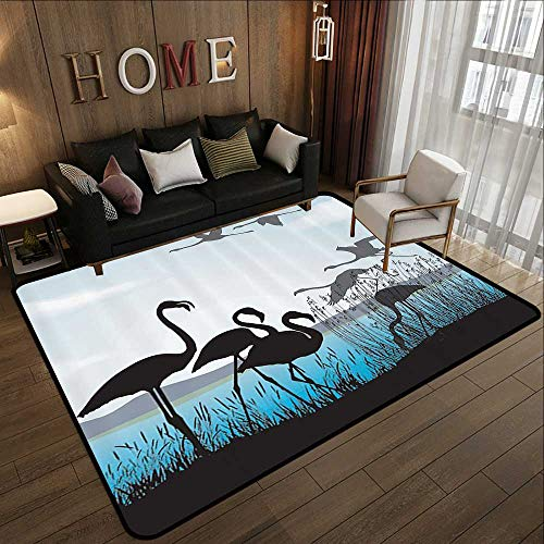 (Durable Rubber Floor Mat,Animal Shadow Decor Collection,Flamingo Silhouettes and Waterfront Walking Animals Design,Black Blue Turquoise 71
