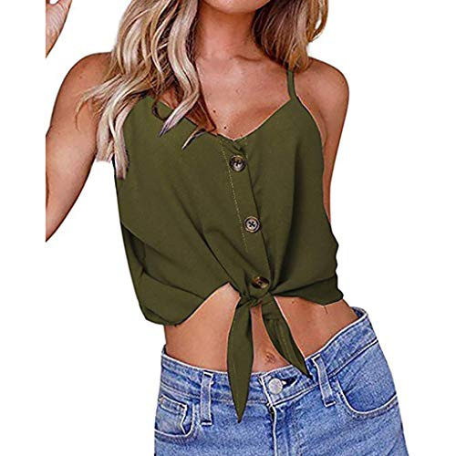 (Lovor Women's Button Down V Neck Strappy Tank Tops Solid Loose Casual Sleeveless Front Tie Knot Shirts Short Blouses (Green,XL))