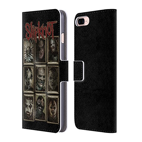 Official Slipknot Masks Key Art Leather Book Wallet Case Cover For Apple iPhone 7 Plus / 8 Plus (Slipknot Official Masks)