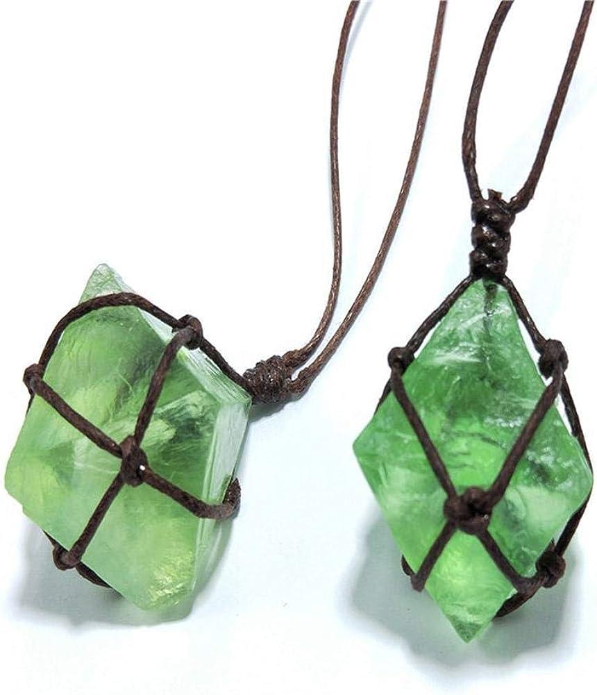 SYXZ Colgante de Cristal de Esmeralda Natural Curación Varita de Piedras Preciosas Reiki Verde Fluorita Envoltura Trenza Collar Yoga Macramé para Hombres Mujeres