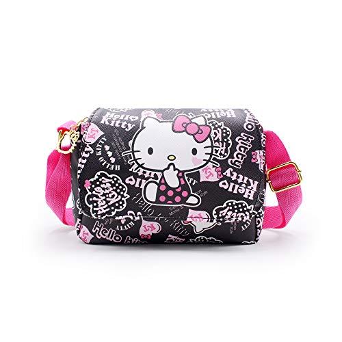 (Finex Hello Kitty PU Leather Black Crossbody Messenger Bag Satchel Handbag Two pockets with adjustable strap for women)