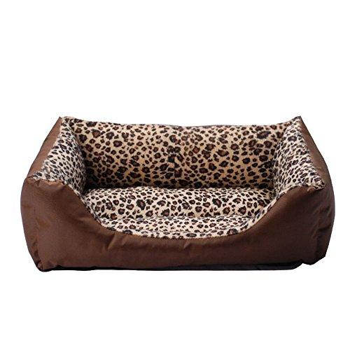 Moonper Clearance ! Pet Leopard Print Kennel,Dog Cat Dirty Durable Fluffy Soft Plush Warm Cozy Nest Mat Sleep Bed Home (M, Coffee)