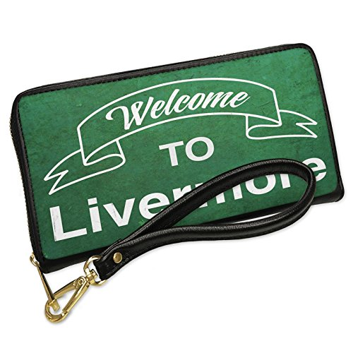 Wallet Clutch Green Sign Welcome To Livermore with Removable Wristlet Strap Neonblond