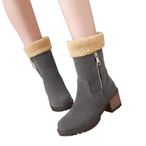 SamMoSon Botas Mujer Invierno Altas Negras Tacon Marrones,Zapatos De Invierno para Mujer De Mujer Flock Warm Boots Snow Boots Short Bootie: Amazon.es: Ropa ...