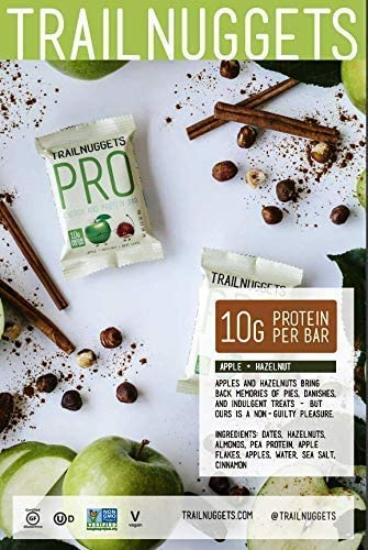 Trailnuggets PRO Protein Energy Bar, Apple Hazelnut, Vegan, Non-GMO, Gluten-Free, Dairy-Free, Soy-Free, Plant Based Protein Single 2.1oz bar