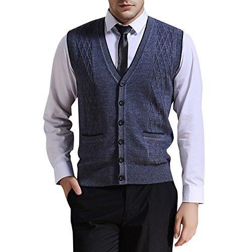 Zicac Men's V-neck Jacquard Weave Vest Rhombus Pattern Knitwear Sweater Vest Waistcoat (XL, Gray) - Mens Jacquard Vest