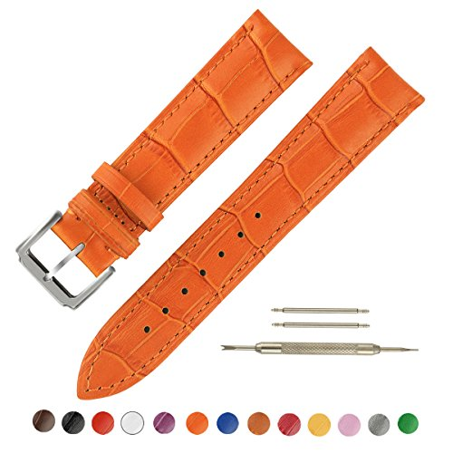 SIMCOLOR Leather Watch Band - Choice of Color & Width (16mm,18mm,20mm,22mm or24mm) Premium Genuine Cowhide Replacement Watch Strap for Men and Women(24mm,Orange)