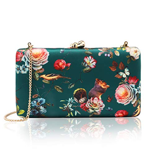 - two the nines Women's Floral Print Satin Evening Bag Clutches Thin Chain Hardcase Purses Green