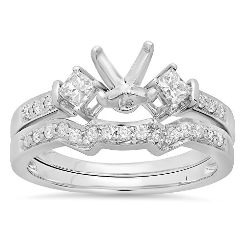 0.55 Carat (Ctw) 14k White Gold Round & Princess Diamond