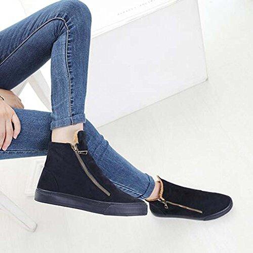Solshine Damen Wildleder Sportliche Flache Warm Gefütterte Sneakers Kurzschaft Stiefel Stiefeletten Dunkel Blau