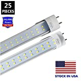 JESLED T8 T10 T12 4FT LED Tube Light, 28W 3080Lumen, 6000K Cool White, Clear Cover, Two Pins G13 Base, Dual-Row 192LEDs, 4 Foot Fluorescent Bulbs Replacement (25-Pack, Ballast Removal)