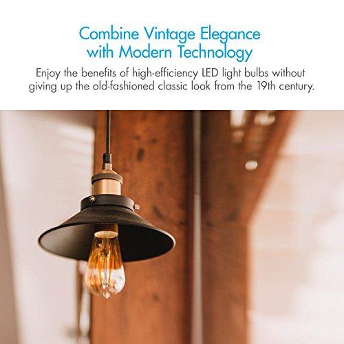 Tenergy Dimmable Edison Bulbs 4W LED Filament Bulbs (40 Watt Equivalent), Soft White (2700K), ST64 Bulbs, E26 Medium Standard Base Decorative Light Bulbs for Ceiling Light Fixtures (Pack of 6) by Tenergy (Image #2)