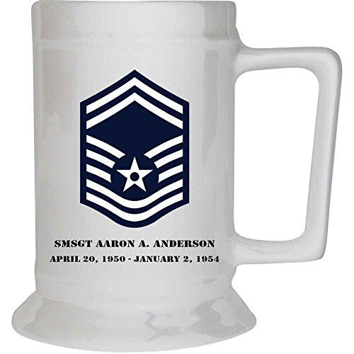 Customizable Air Force Senior Master Sergeant Rank 16 oz. Beer Stein