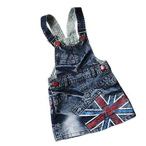 Baby Girls Red Button UK Flag Print Denim Short Suspender Skirt dark blue-6 (1/2Y)